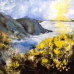 Acrylic and pastel Original painting 'Gorse Everywhere.......and Wind'