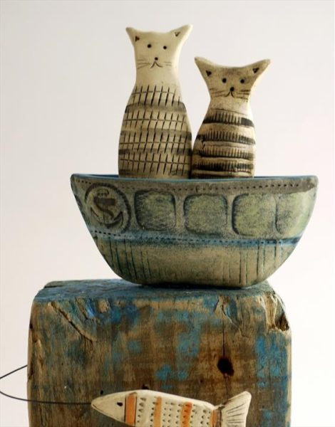 Ceramic and Driftwood 'Tabby's Fish Watching'