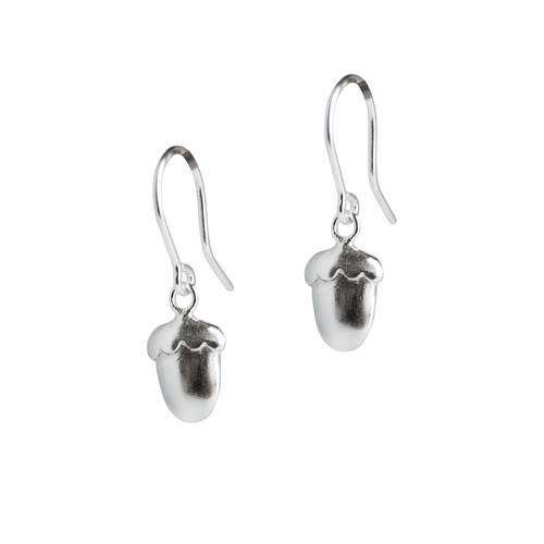 Silver Acorn drop earrings