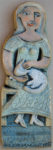 Ceramic Relief. Woman and Cat