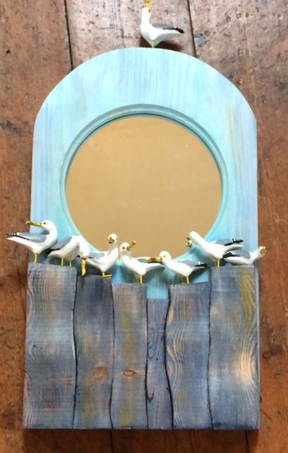 Hand Carved Wooden Sea Gulls Mirror