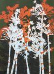 Coloured Monoprint - Hogweed in orange and white