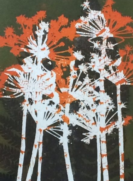 Coloured Monoprint - Hogweed in orange and white