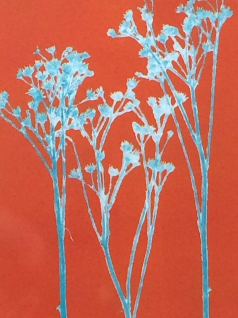 Coloured Monoprint - Dropwort in turquoise & orange