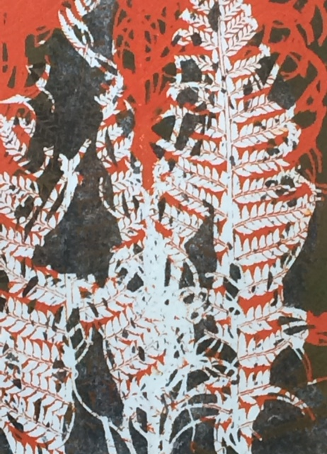 Coloured Monoprint - Fern in white & orange
