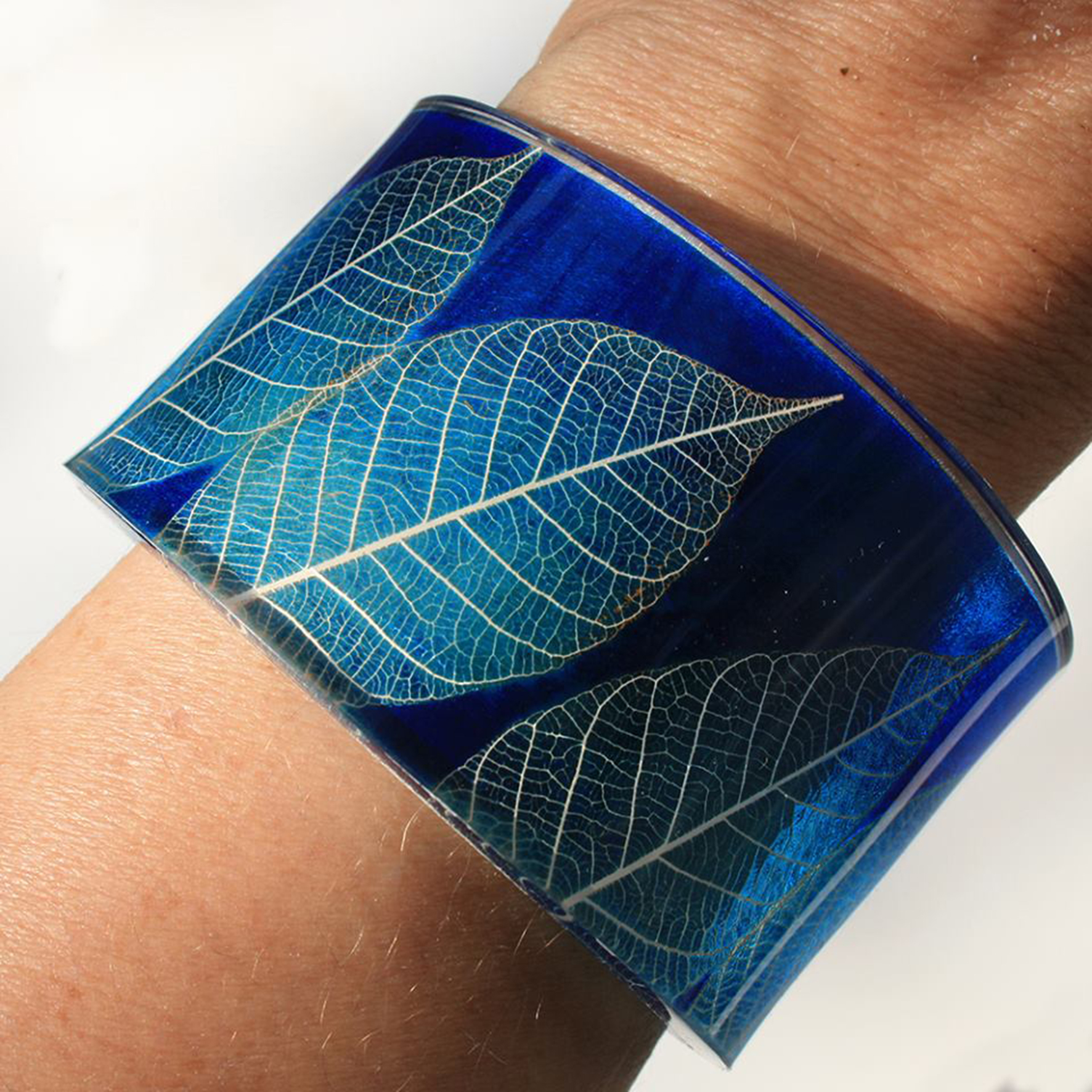Acrylic Cuff, blue skeleton leaf