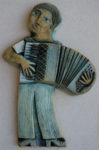 Ceramic Relief Accordion Player