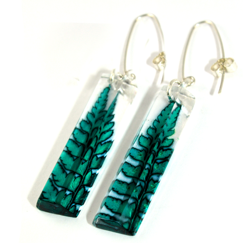 Acrylic Earrings Viridian Green Fern Faceted Rectangular