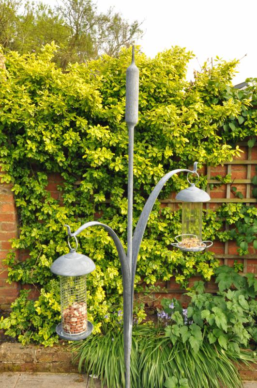 Hot Forged and Galvanised Double Bullrush Bird Feeder