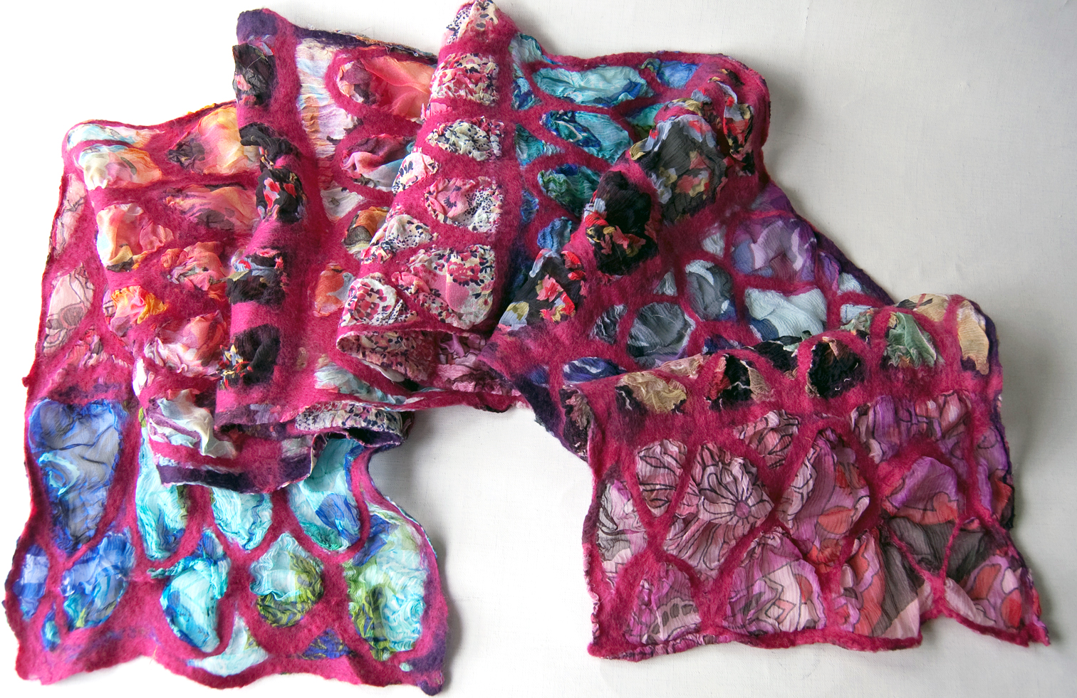 Hand dyed silk and merino wool scarf with vintage silk fabrics 'Jewel Jigsaw'