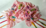Hand dyed silk and wool scarf 'Pinks'
