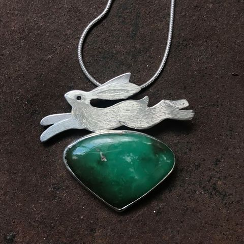 Silver Pendant 'Leaping Hare' on Chrysocolla