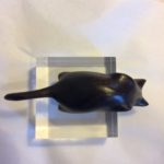 Hand Carved Cat Sculpture Peeping Tom