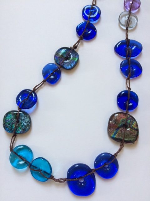 Fused Glass Necklace on linen thread