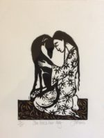 Lino Cut She Loves Her Dog
