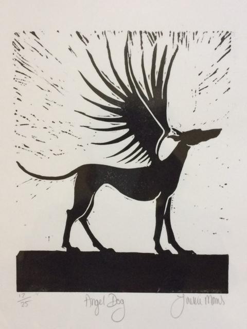 Lino Cut Angel Dog l