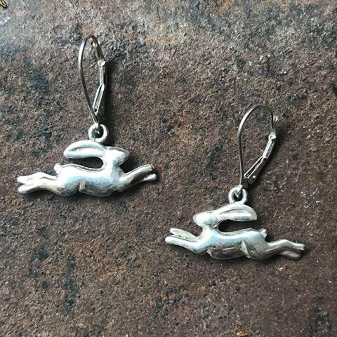 Silver Leaping Hare Drop Earrings