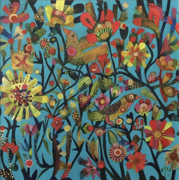 Acrylic on linen canvasSpringtime Birds