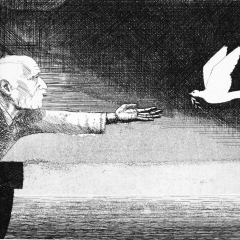 Limited edition etching 'Man, Dove....'
