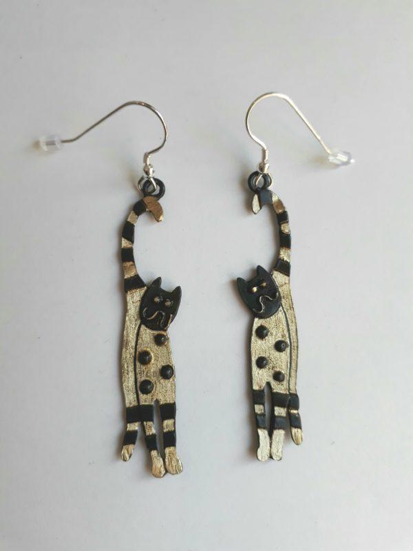 Brass & Bronze Happy Cat Earrings