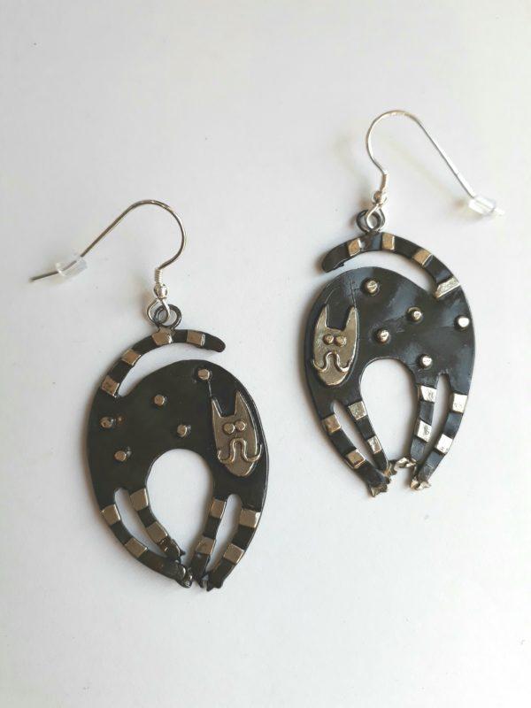 Brass & Bronze Curly Cat Earrings