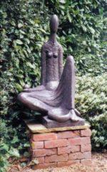 Stone resin garden sculpture, celtic water goddess.