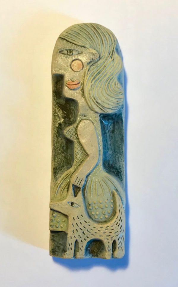 Ceramic Relief 'Woman & Dog'