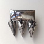 Silver Bar Hearts Brooch