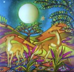 Hand Painted Glass Panel 'Whippets Under a Full Moon'