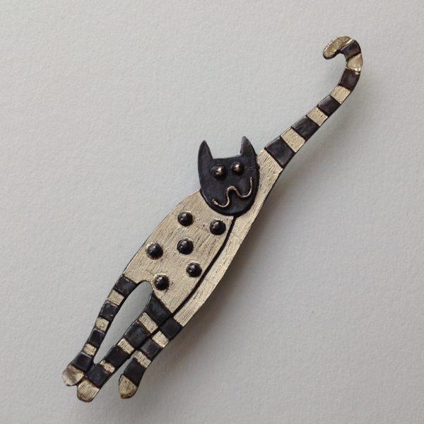Brass & Bronze Happy Cat Brooch