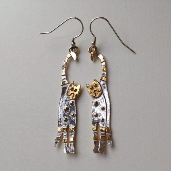 Silver Gilt Happy Cat Earrings