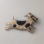Brass & Bronze Running Dog Brooch