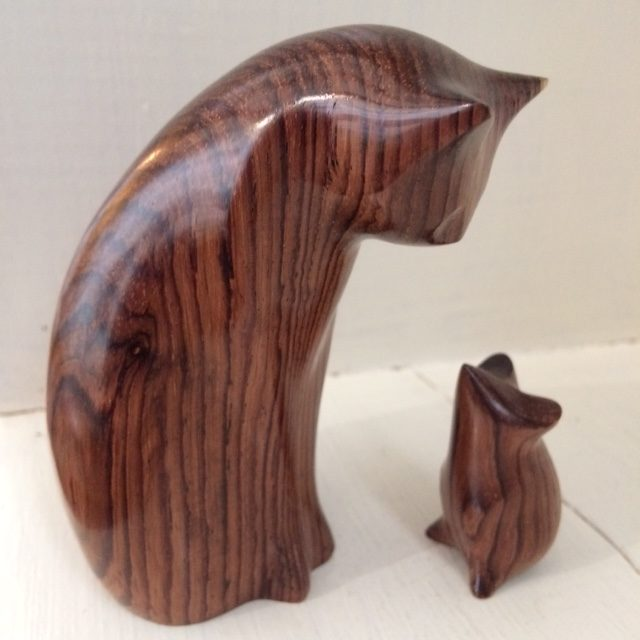 Hand carved Cat and Mouse in Honduras Rosewood