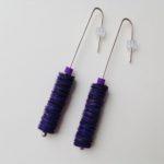 Purple & Gold Polythene Drop Earrings