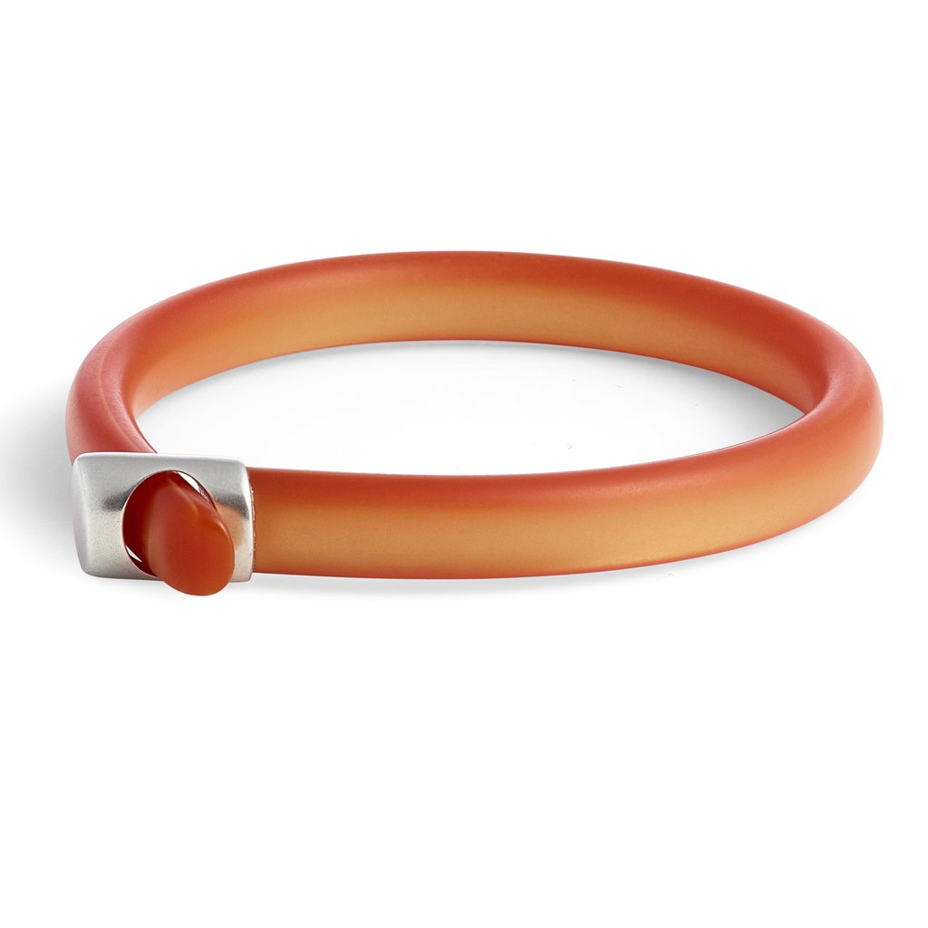Cellulose Acetate Loop Bangle in Tangerine
