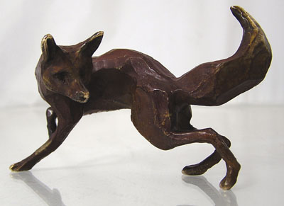 Bronze fox hunting by Michael Storey