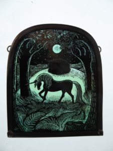 Stained Glass Panel Black Unicorn