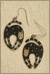 Brass & Bronze Curly Cat Earrings