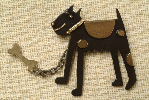 Brass & Bronze Dog and Bone Brooch