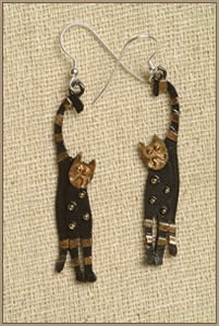 Brass & Bronze Happy Cat Earrings