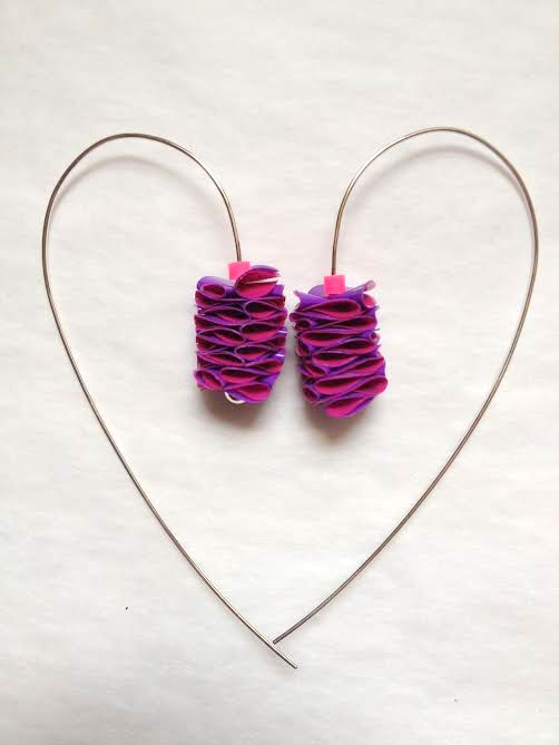 Polythene and Silver Hot Pink & Purple Long Curved Earrings