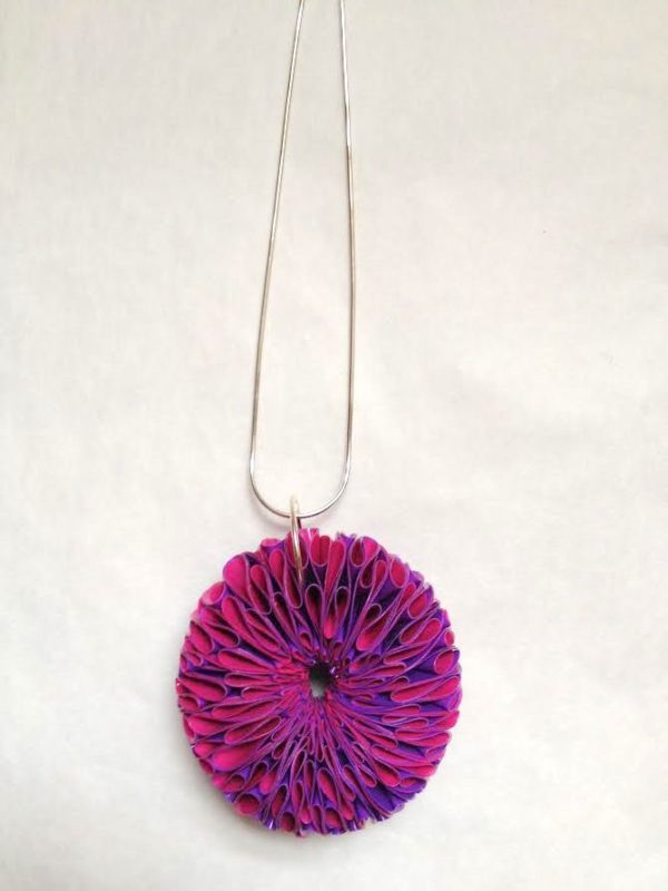 Polythene and Silver Hot Pink & Purple large necklace