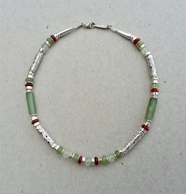 Silver with Serpentine and carnelian Necklace