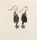 Brass & Bronze Little Owl Earrings with star