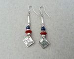 Silver Earrings with Lapis and Carnelian