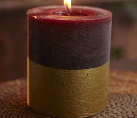 Sandalwood Gold Dipped Candle