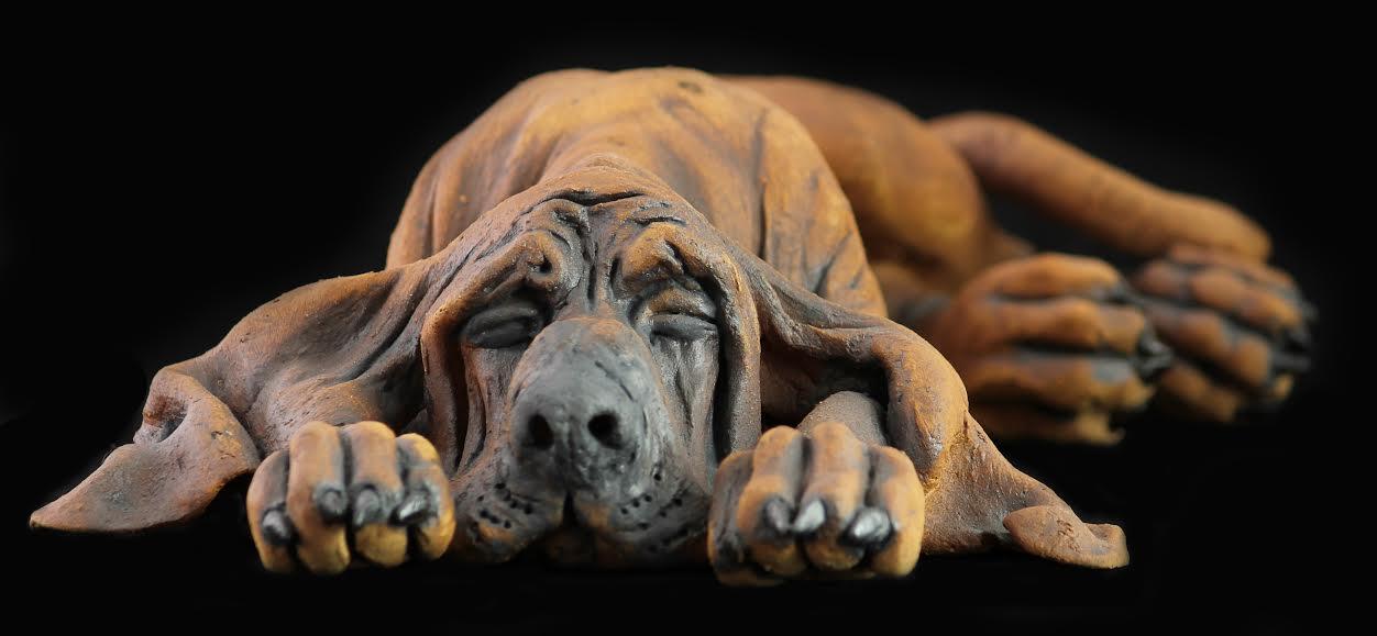 Ceramic bloodhound sculpture