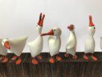 Hand Carved Sculpture 'Goose Gang'