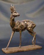 Cold cast bronze sculpture of roe deer buck