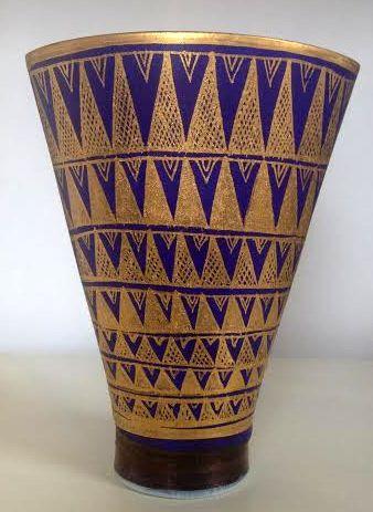 Blue Porcelain Fan Vase